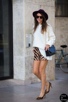 zebra skirt with leopard pumps and chic sweater