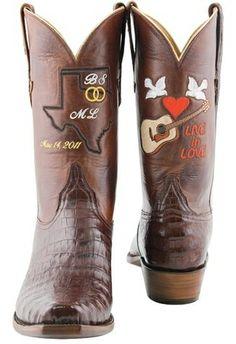 I love these wedding boots. (Miranda Lambert and Blake Shelton)