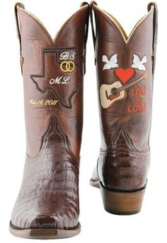 I love these wedding boots. (Miranda Lambert and Blake Shelton)