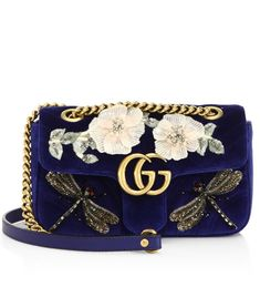 8289427ecc7 Gucci GG Marmont Mini Embroidered Velvet Chain Shoulder Bag Blue   0400094585953  -  259.00   Upscalebags.cn