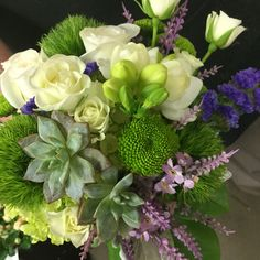 Add succulents to a wedding bouquet for a modern look