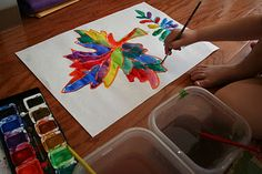 Great use of glue to create batik-style paintings!