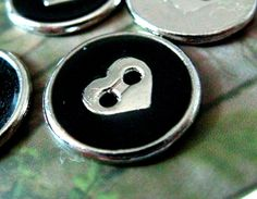 Heart Metal Buttons - Lot 10 Lovely Silver Heart In Black Enamel Design 2 Holes Buttons. 0.59 inch. $5.00, via Etsy.