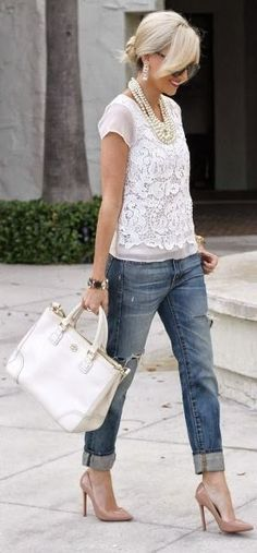 White Comfort Shirt, Fashionable Jeans, Leather Colored High-Heeled, White Hand Bag, White Accessories. | Street Fashion