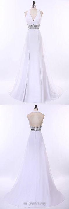 Halter Prom Dresses, White Prom Dresses, Long Formal Dresses, Chiffon Sweep Train Beading Party Dresses, Backless Evening Dresses