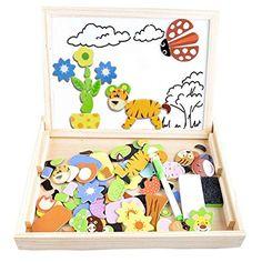 Puzzles Enfant en Bois Magnétique, COOLJOY avec Tableau Noir de Chevalet à Double Face Jouets Educatif pour Enfants  3 ans à 6 ans - 100 Pièces (Animaux) - Puzzle Aimant peut Coller sur un Frigo. EUR 14,99
