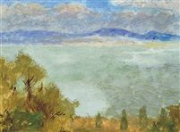 View of the Danube tempera on paper 29,5 x 38 cm
