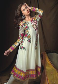 Off White Faux Georgette Churidar Kameez Online Shopping: KCR4697