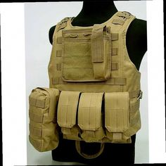 43.50$ Buy now - http://alirmn.worldwells.pw/go.php?t=32768440279 - Tactical Amphibious Molle Camouflage Vest Military Combat Assault Plate Carrier Waistcoat Hunting Protection Armor Equipment Tan 43.50$