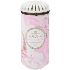 Voluspa Maison Blanc Ceramic Candle - Pink Citron ($36) ❤ liked on Polyvore featuring home, home decor, candles & candleholders, pink, voluspa candles, coconut candles, rose candle, handmade candles and pink grapefruit candle