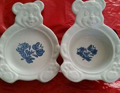 Pfaltzgraff Yorktowne Teddy Bear Bowl & Plate with Blue Flowers  childs