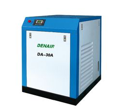 DENAIR Standard Oil-injected Screw Air Compressor Model: DA-30 Working Pressure(Mpa): 0.75 Air Delivery(m3/min): 5.4 Voltage and IP Grade: 380V IP54 Starting Method: Belt/Air Cooling Noise: 65±2 Dimensions LxWxH(mm): 1050x1200x1300 Weight(kg): 520 Outlet Pipe Diameter: G1-1/4 EEI: EEI2 Qualification And Quality Certificate: GC energy-saving Certification, CE European Union standard Certification, ISO9001 the United Kingdom LRQA Certification