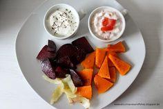 Herbstliches Ofengemüse mit Dips {Rote Bete und Kürbis}