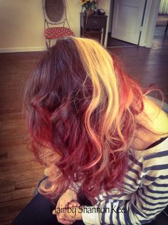 Panels of blonde throughout with chocolate brown and red hot ombré ends.