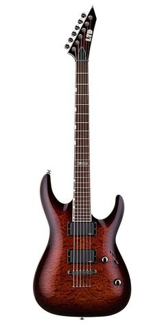 """ESP LTD MH-350NT Dark Brown Sunburst. The MH350NT DBSB has a Mahogany Body with a Quilted Maple Top, Maple Neck and a Rosewood Fingerboard. This guitar comes equipped with TOM Bridge. It has a Neck-Thru Construction and a 25.5"""" Scale, with 24 Extra Jumbo Frets and a Thin-U Neck Contour. The Pickups are active EMG 81(b) & EMG 85(n) and comes standard with LTD Tuners. The Controls are Vol/Tone with a 3-Way Switch. Hardshell Case Model: CMHFF Sold Separately."""