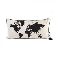ferm LIVING World Map Pillow in Black - 7011
