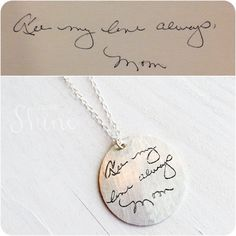 Custom Handwriting Necklace with the Writing or Art of your Little One or Loved One Cute Gifts, Great Gifts, Unique Gifts, Diy Gifts, Memorial Jewelry, Hand Writing, Personalized Jewelry, Custom Jewelry, Jewelery