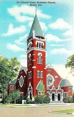 Selma Alabama AL 1946 Church Street Methodist Church Antique Vintage Postcard