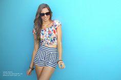 Model wears On the High Sea's Shorts & Bermuda Crop Shirt.