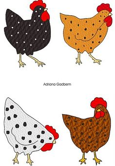 chickens for glass blobs Applique Templates, Applique Patterns, Applique Designs, Quilt Patterns, Chicken Crafts, Chicken Art, Wool Applique, Applique Quilts, Free Motion Embroidery