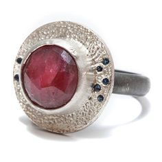 Round red ruby silver  ring oxidized silver gemstone by mbfjewelry, $239.00