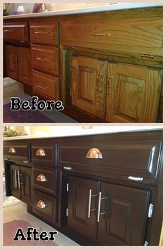 Cabinets get an update using General Finishes gel stain. (http://www.fmthecolorwheel.com/) General Finishes Java Gel is available in stores across America.