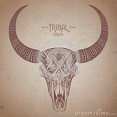 Crâne indien décoratif de taureau dans le style tribal de tatouage avec des fleurs