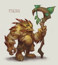 The farah were small, horned, heavily-built plant creatures seen in concept art for Warlords of Draenor. However, they never made it to the game. Game Character Design, Character Design Inspiration, Character Concept, Character Art, Concept Art, Cute Creatures, Fantasy Creatures, Mythical Creatures, Beast Creature