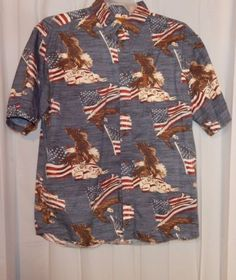 MAGELLAN SPORTSWEAR PATRIOTIC AMERICAN FLAG EAGLE USA LIBERTY SHIRT SZ LARGE in Clothing, Shoes & Accessories, Men's Clothing, Casual Shirts | eBay