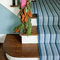 Striped runners from Dash and Albert Rugs.  Colorful Foyer Makeover | Cotton Stair Runners | SouthernLiving.com