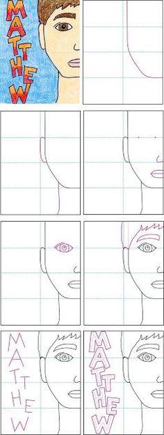Kunstprojekte für Kinder: zurück zur Hälfte Portrait Schule. Folgen Sie der Falte Linie Leitlinien, um Ihre SchülerInnen und Schüler ein gut proportioniertes Gesicht machen helfen. 459