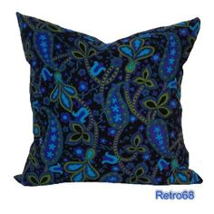 Throw Pillow Vintage Paisley Fabric Black Turquoise by Retro68, £25.00