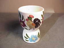 VINTAGE DOUBLE PORCELAIN EGG CUP - FANCY FEATHERED ROOSTER & FLOWERS