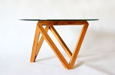 Tre coffee table glass wood modern by petrifieddesign on Etsy