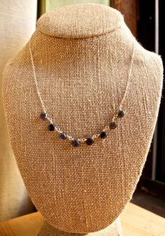 "Sterling Silver Iolite Teardrops Cable Chain Necklace 17"", $25.00"