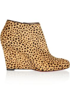 CHRISTIAN LOUBOUTIN Belle Zeppa 85 Printed Calf Hair Ankle Boots. #christianlouboutin #shoes #boots