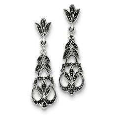 Sterling Silver Marcasite Earrings Attributes Post;Antique finish;Sterling silver;Marcasite;Dangle;Rhodium-plated Product Type:Jewelry Jewelry Type:Earrings Earring Type:Drop & Dangle Material: Primar
