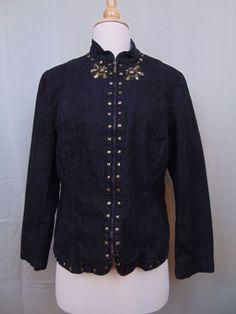 Alfred Dunner Petite Jacket Zip-Up Embellished Long Sleeve Size 6P #685 #AlfredDunner #BasicJacket
