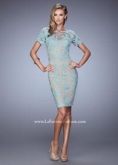 La Femme 21717 Beautiful Lace Illusion Short Dress