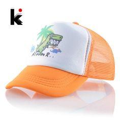64d52a94926c0 Mesh Baseball Caps Kids Lovely Cartoon Dinosaur Snapback Hats For Baby Boys  And Girls Outdoor Children