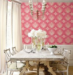 Pink dining room.