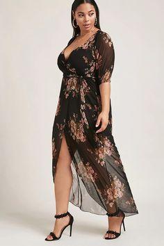 Forever 21+ - A semi-sheer stretch-knit maxi wrap dress featuring an eeb3191410d5