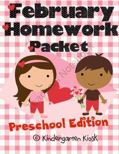 February Homework Packet: Preschool (Little Valentines) product from Kindergarten-Kiosk on TeachersNotebook.com