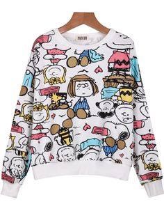 Shop White Round Neck Cartoon Characters Print Sweatshirt online. Sheinside  offers White Round Neck Cartoon