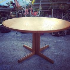 """""""Mid century Danish teak dining table. Round to oval with two large leaves."""" Photo taken by @modernflamingo on Instagram, pinned via the InstaPin iOS App! http://www.instapinapp.com (08/26/2015)"""