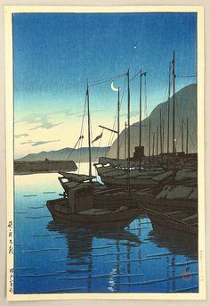 別府の朝 べっぷのあさ Beppu in the Morning. 川瀬巴水 かわせはすい Kawase Hasui. 旅みやげ第三集 From series Souvenirs of Travel III.