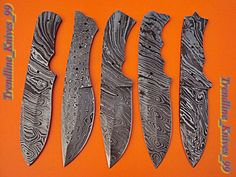 LOT OF(5 PICS) Damascus Custom Handmade Full Tang Hunting Knife Blank Blade . #BestSteelWarrior