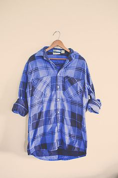 Vintage 80's  Plaid Flannel Royal Blue Black by 7CitiesVintage