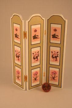 """Miniature screen by France Cabana  -  1:12 scale  -  6"""" H  -  $60.00CAD  - www.menuartminiatures.com"""