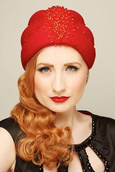 Salome - red swarovski beaded felt turban by www.glamoroushats.com photo by Joanna Koralewska, model Millicent Binks